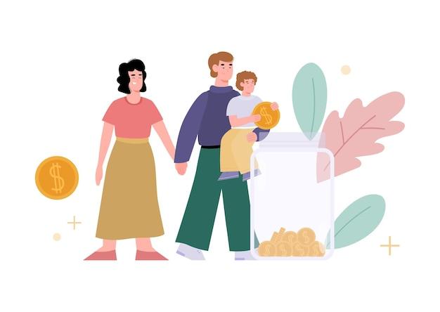 Familia con tarro de dinero aislado