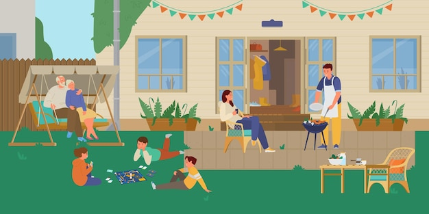 Familia, tener, parrilla, fiesta, en, el, patio trasero