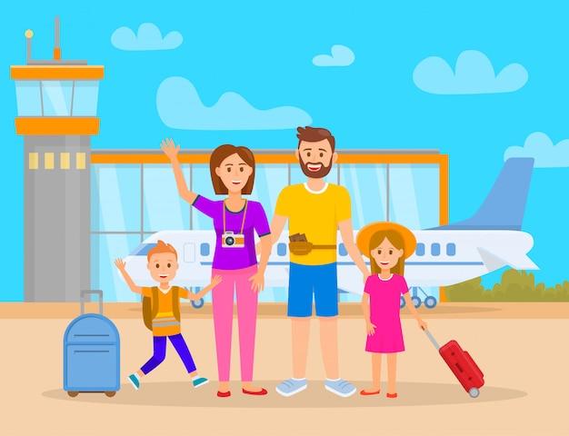 Familia en la terminal del aeropuerto ilustración vectorial.