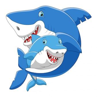 Familia de tiburones de dibujos animados lindo jugando juntos