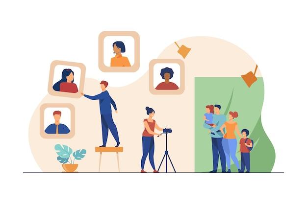 Familia tomando fotografías en el estudio fotográfico. retrato, cámara, fotógrafo ilustración vectorial plana. fotografía y expresión