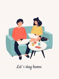 Familia trabajando en computadoras portátiles en un sofá y texto let`s stay home.