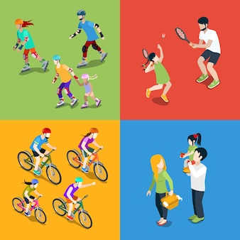 Familia urbana jóvenes padres crianza de los hijos deportes al aire libre