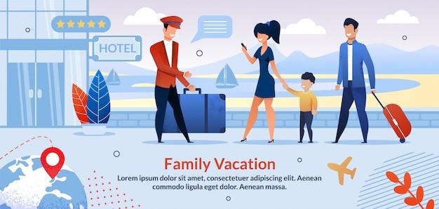 Familia en vacaciones registrarse en la plantilla plana del hotel