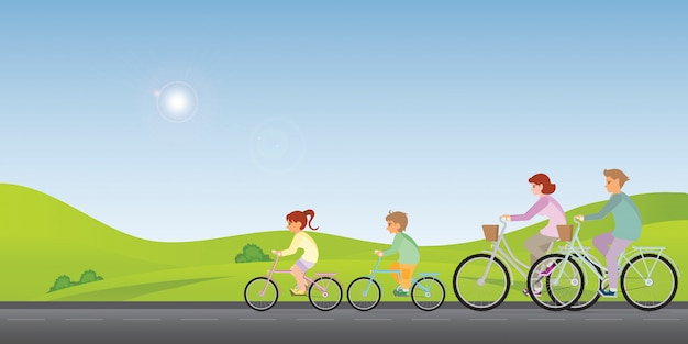La familia viaja en bicicleta junto a una primavera soleada.