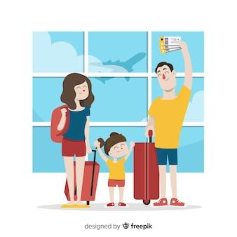 Familia viajando