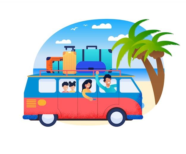 Familia viaje padre drive minivan con madre niños en sea shore