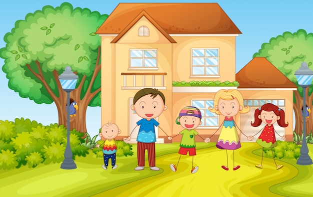 Familia viviendo en la casa