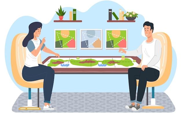 Familiares o amigos, hombre y mujer sentados en una mesa y jugando al juego de mesa de estrategia lógica