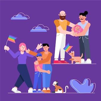 Familias celebrando el desfile del día del orgullo