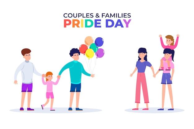 Familias celebrando el día del orgullo juntos