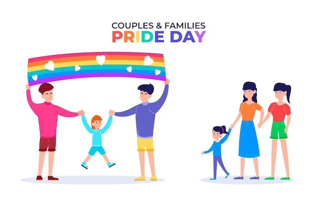 Familias celebrando el día del orgullo
