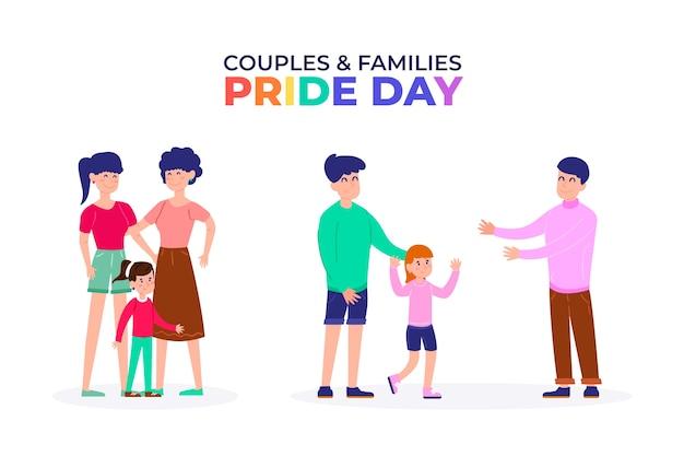 Familias celebrando el evento del día del orgullo