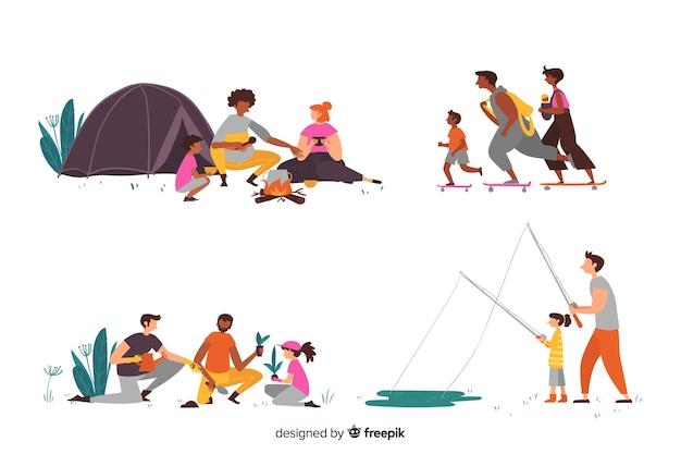 Familias dibujadas haciendo actividades al aire libre