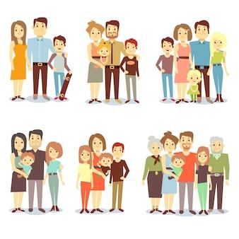 Familias de diferentes tipos de iconos de vector plano. conjunto de familia feliz, ilustración de grupos diferentes fa