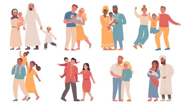 Familias de distintas nacionalidades. padres e hijos vistiendo ropas tradicionales. conjunto de vectores familiares árabes, africanos, indios y chinos. ilustración personas familia tradicional con niños