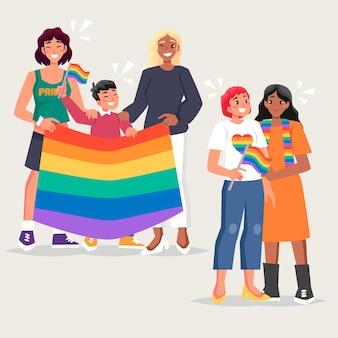 Familias felices celebrando el día del orgullo