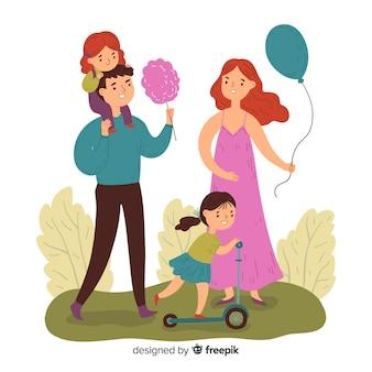 Familias haciendo actividades al aire libre