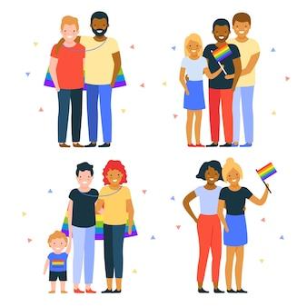 Familias y parejas celebrando el día del orgullo