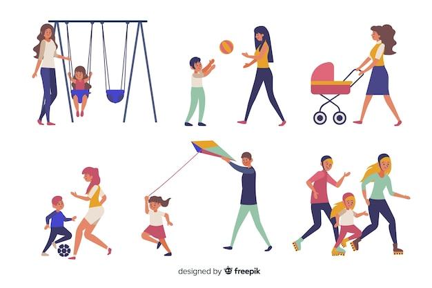 Familias practicando actividades al aire libre