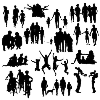 Family people happy silhouette clip art vectorial