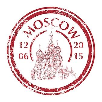 Famosa catedral de san basilio en moscú en el sello postal de grunge. ilustración vectorial