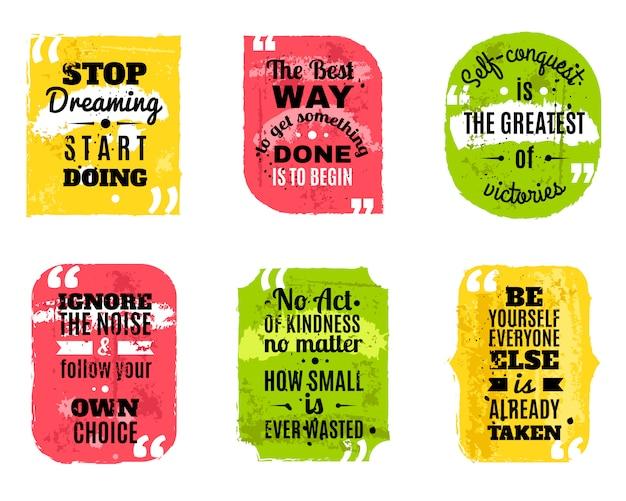 Famosas frases de colores con textura conjunto de iconos