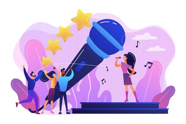 Famoso cantante de pop cerca de un gran micrófono cantando y gente pequeña bailando en un concierto. música popular, industria de la música pop, concepto de artista top chart.