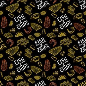 Famoso pescado y patatas fritas de comida rápida británica. fish and chips de patrones sin fisuras.