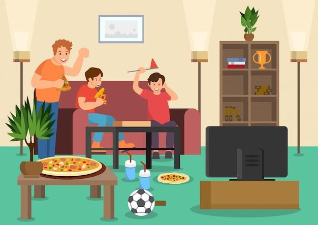 Los fanáticos de los amigos de dibujos animados comen pizza viendo fútbol.