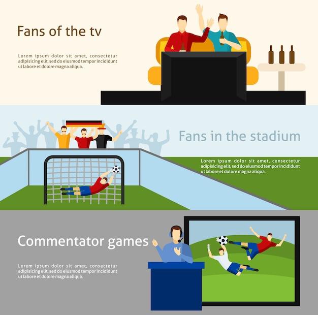 Los fanáticos del fútbol 2 pancartas planas