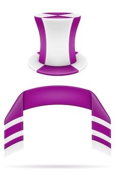 Los fanáticos del fútbol de fútbol atribuyen la ilustración de bufanda y sombrero