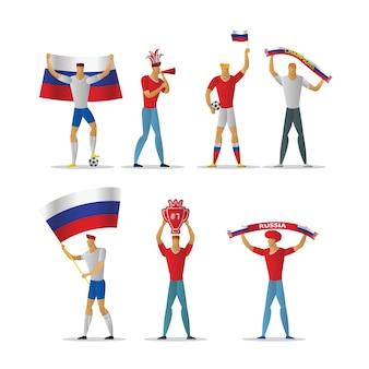 Fanáticos del fútbol de rusia. fans alegres de fútbol multitud.