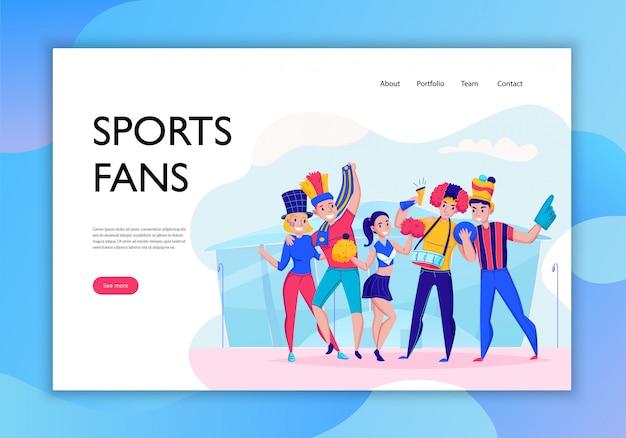 Los fanáticos que animan el banner del concepto del equipo con el titular de los fanáticos del deporte y ven más ilustración de botones