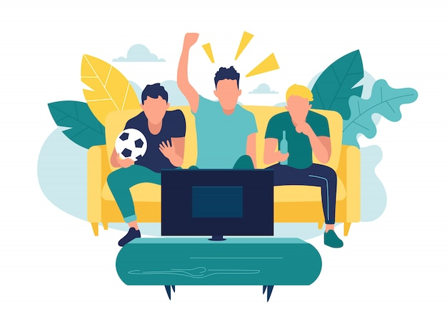 Los fanáticos que miran la transmisión en vivo del partido en la televisión y animan a su equipo. ilustración en estilo plano