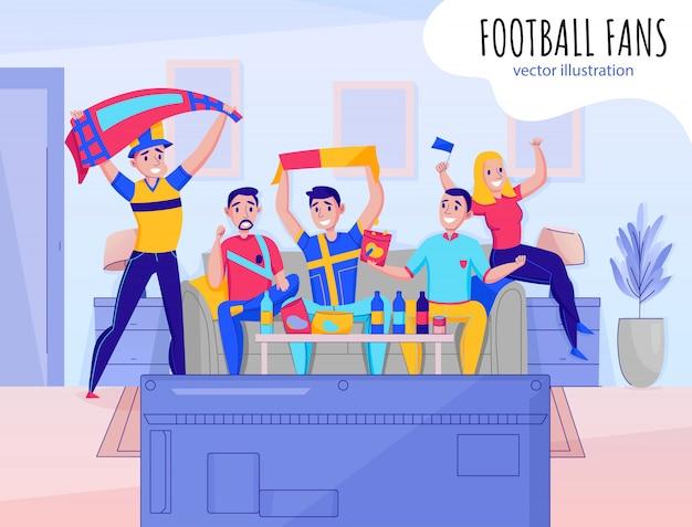 Fans que animan la composición del equipo con cinco personas que animan su ilustración favorita del equipo deportivo