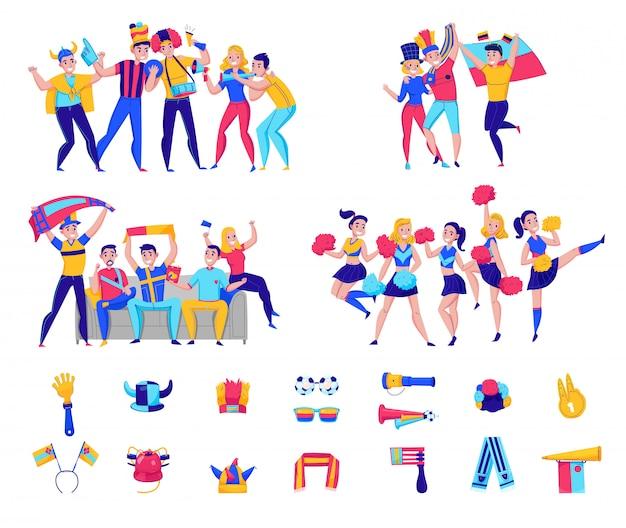 Fans que animan el ícono del equipo con grupos de personas y atributos de fútbol que animan la ilustración del equipo