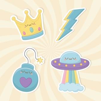 Fantasía divertida establece personajes kawaii