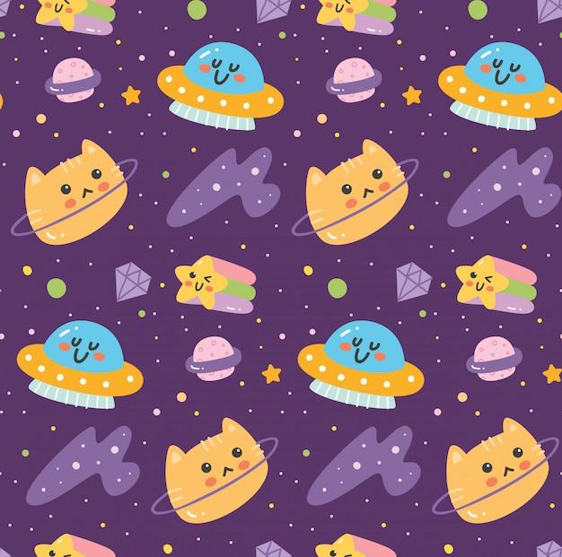 Fantasía espacio de patrones sin fisuras con cabeza de gato