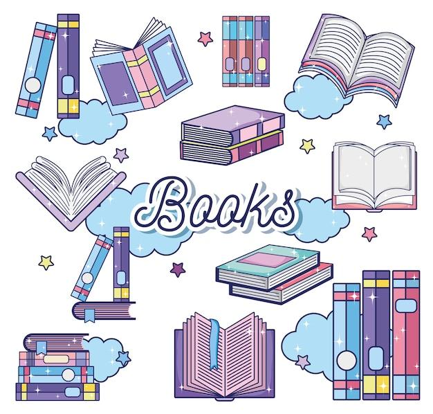 Fantasía y magia libros lindos dibujos animados
