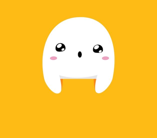 Fantasma blanco se esconde sobre fondo naranja