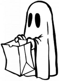 Fantasma con la bolsa (en blanco y negro)