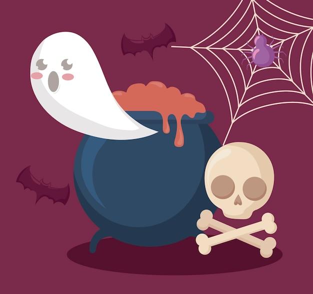 Fantasma con caldero e iconos de halloween.