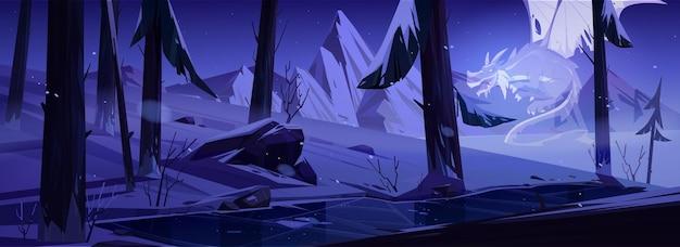 Fantasma del dragón en el bosque de invierno de noche con estanque