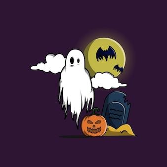 Fantasma espeluznante halloween en la ilustración de vector de dibujos animados de tumba