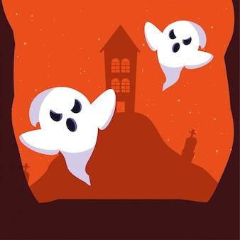 Fantasma de halloween en escena colorida