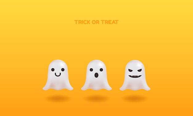 Fantasma con varias expresiones. celebración de halloween