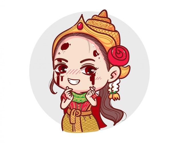 El fantasma de la vestimenta tradicional tailandesa hizo el símbolo del mini corazón con el dedo sobre fondo blanco con el concepto aterrador de halloween.