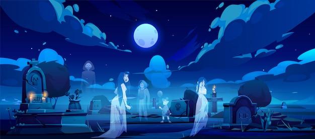 Fantasmas en el cementerio, antiguo cementerio en la noche oscura