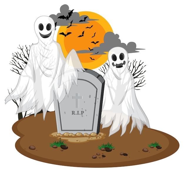 Fantasmas de halloween con lápida sobre fondo blanco.